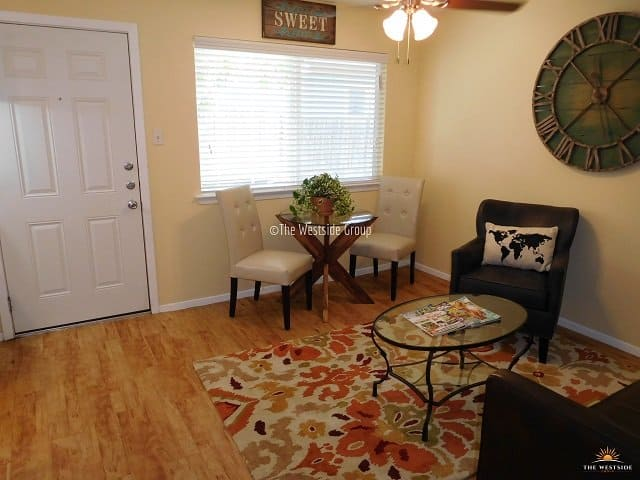 living spaces for 1br apt at Melroy