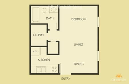 well-laid out studio floor plan