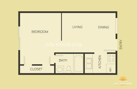 diagram of 1br unit apartment