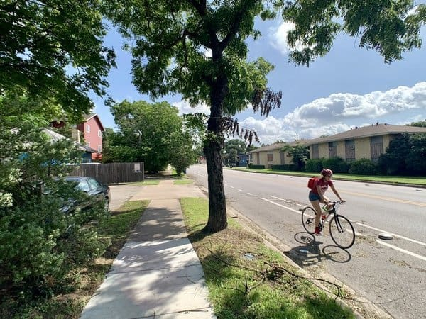 biking access on residential street near UT Austin north campus Hyde Park