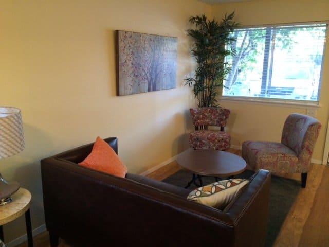 full living room area of studio apartment