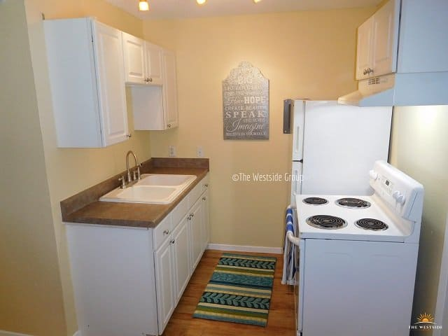 spacious kitchen counter and complete appliance
