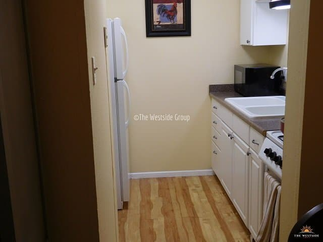 kitchen counter area with appliances