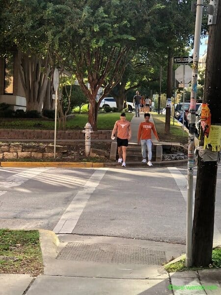 students walking on UT Austin west campus neighborhood