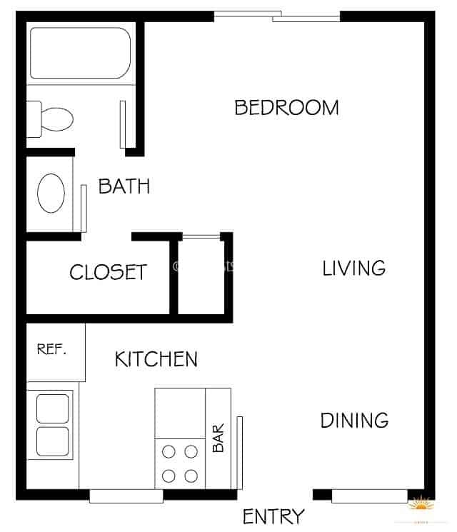 floor plan diagram of an apartment studio model