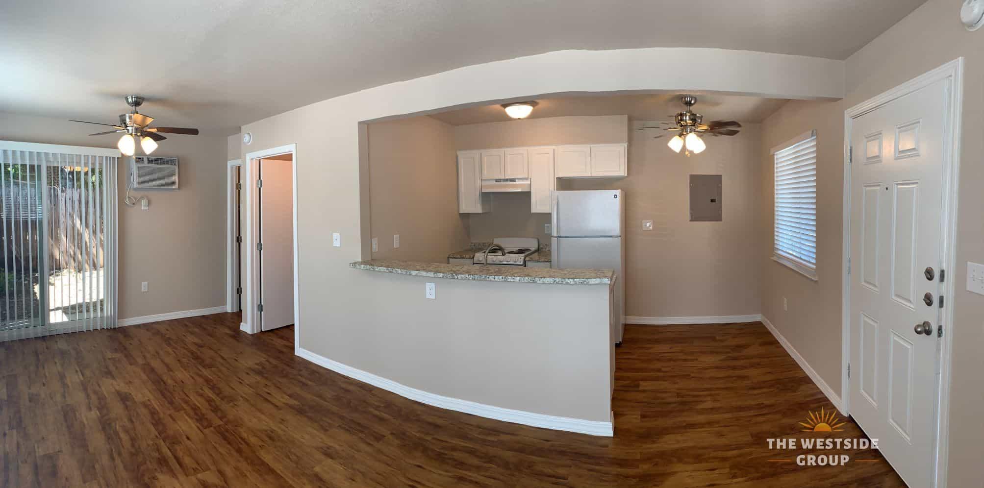 open floor plan unit with updated fixtures