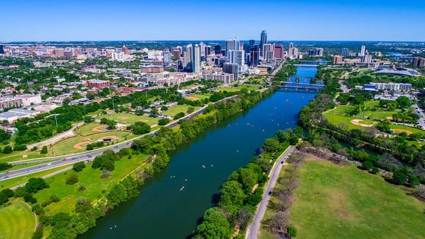 Town and Lady Bird Lake in Austin